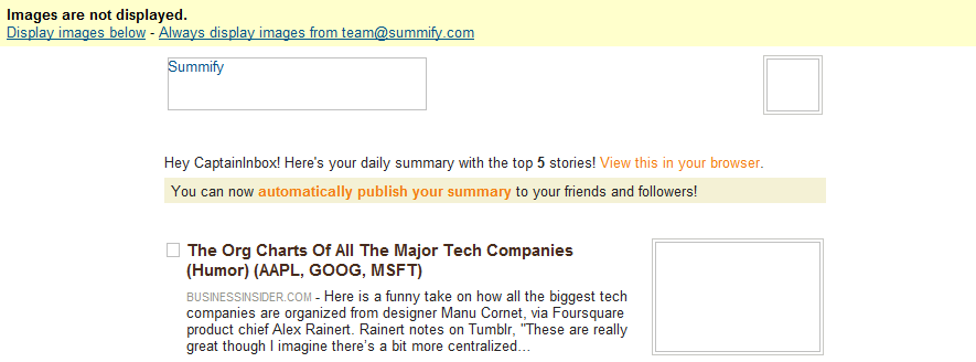 gmail summify screen shot