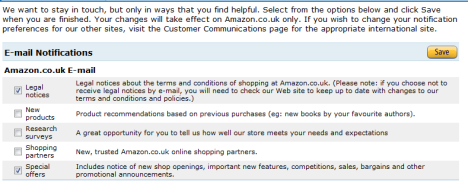 Amazon optout prefs